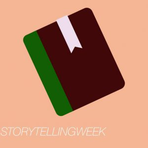 A picture of a book with the hashtag National Storytelling Week